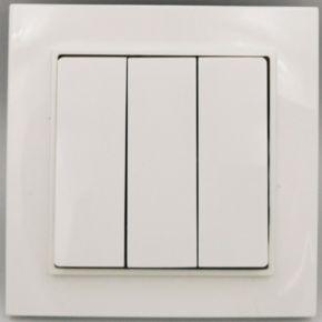 BAS Διακόπτης Απλός 3 Πλήκτρων NEFELI Λευκό