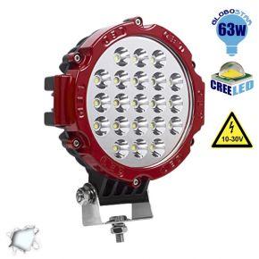 Προβολέας LED Εργασίας RED Round 63 Watt 10-30v Ψυχρό Λευκό