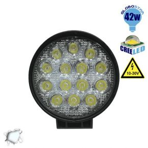 Προβολέας LED Εργασίας Round 42 Watt 10-30v Ψυχρό Λευκό