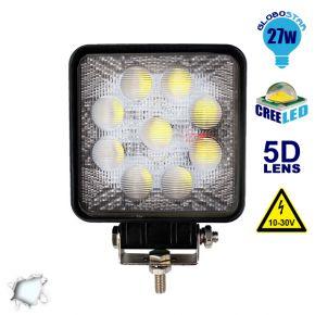 Προβολέας LED 5D Εργασίας Square 27 Watt 10-30v Ψυχρό Λευκό