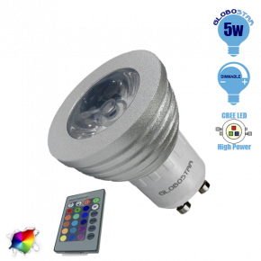 Σποτάκι LED GU10 5 Watt RGB 220V με Ασύρματο Χειριστήριο