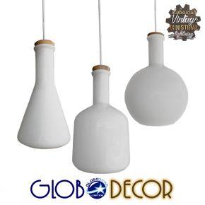 SET 3 Vintage Λευκά Γυάλινα Φωτιστικά Οροφής Globostar BOTTLES 3XE27 Με Καπάκι Φελού και Ανάρτηση Καλωδίου