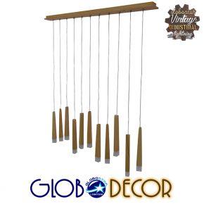 GloboStar® WOODFALLS 01254 Μοντέρνο Κρεμαστό Φωτιστικό Οροφής Πολύφωτο LED Μπεζ Ξύλινο Μ120 x Π8 x Υ33cm