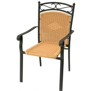 Campus Καρέκλα Αλουμινίου Με Μπράτσα Wicker Ανθρακί