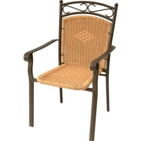 Campus Καρέκλα Αλουμινίου Με Μπράτσα Wicker Μπρονζέ