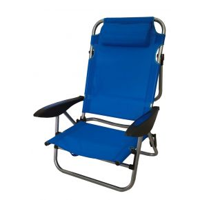 Campus Καρέκλα Παραλίας Μεταλλίκη 4 Θέσεων Με Μπράτσα & Μεγάλο Μαξιλάρι Μπλέ