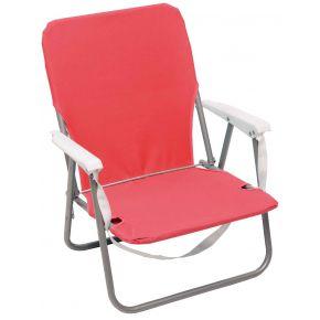 Campus Καρέκλα Παραλίας Μεταλλική Με Μπράτσα Κόκκινη Φ19