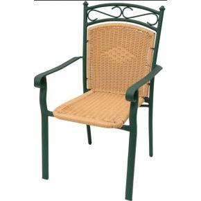 Campus Καρέκλα Αλουμινίου Με Μπράτσα Wicker Πράσινη