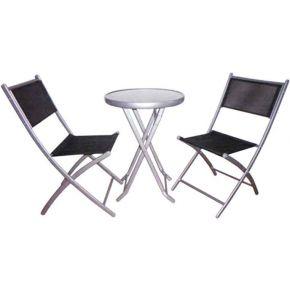 Campus Σετ Μεταλλικό Ανθρακί Τραπέζι Με 2 Καρέκλες Text Ø50x72cm