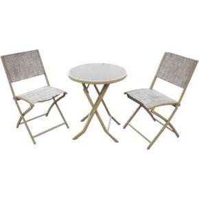 Campus Σετ Μεταλλικό Τραπέζι Με Μαύρο Κρύσταλλο Και 2 Καρέκλες Text Ø60x72cm