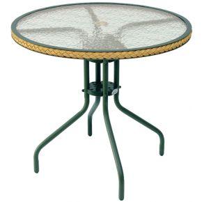 Campus Στρογγυλό Τραπέζι Αλουμινίου Με Γυαλί Πράσινο