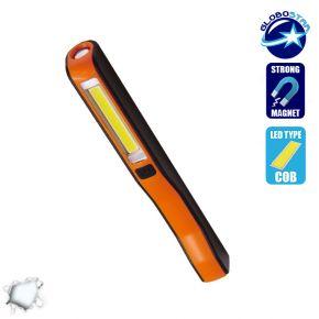 Mini Φορητός Φακός PEN COB LED Πορτοκαλί Χρώμα