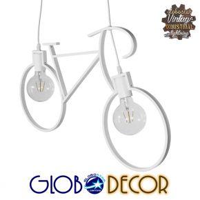 GloboStar® BIKE WHITE 01300 Vintage Κρεμαστό Φωτιστικό Οροφής Δίφωτο Λευκό Μεταλλικό Μ67 x Π1.5 x Υ41cm