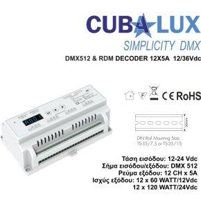 Cubalux DMX 512 & RDM Αποκωδικοποιητής 12 x 5 A 12/36 Vdc