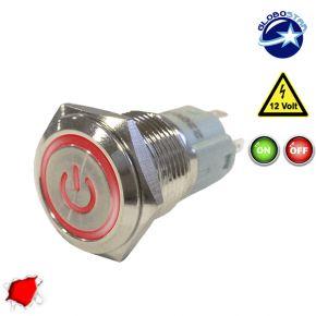 Διακοπτάκι LED ON/OFF 12 Volt DC Κόκκινο