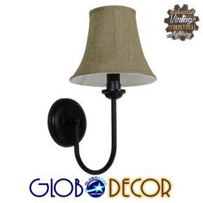 GloboStar® SHELLY 01299 Vintage Φωτιστικό Τοίχου Απλίκα Μονόφωτο Μαύρο Μεταλλικό με Υφασμάτινο Μπεζ Καπέλο Φ20 x Μ18 x Π13 x Υ34cm