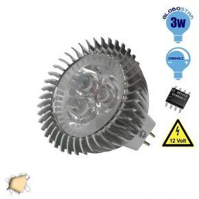 Λάμπα LED Σποτ MR16 GU5.3 3W 12V 260lm 45° Θερμό Λευκό 3000k GloboStar 63150