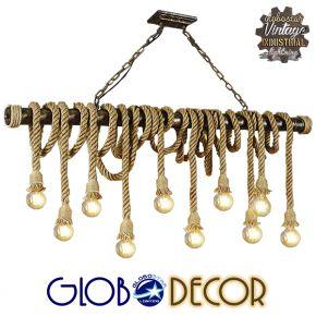 GloboStar® MAUI 01114 Vintage Κρεμαστό Φωτιστικό Οροφής Πολύφωτο Καφέ Ξύλινο Bamboo με Μπεζ Σχοινί Μ150 x Π14 x Υ75cm