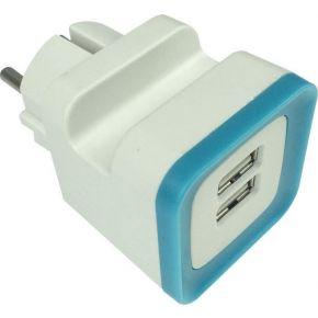 Eurolamp Αντάπτορας Από Σούκο Σε USB Με Προστασία Υπέρτασης
