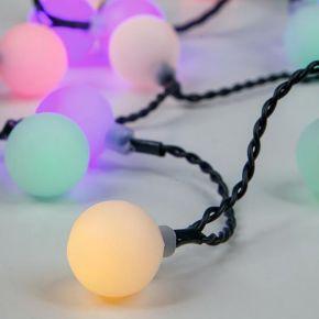 Eurolamp 80 LED με Άσπρες Μπαλίτσες ø2cm, RGB Πράσινο Καλώδιο IP20