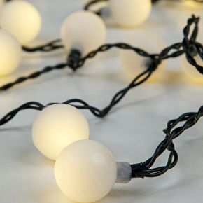 Eurolamp 80 LED με Άσπρες Μπαλίτσες ø2cm, Πράσινο Καλώδιο και Μετασχηματιστή IP20