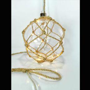 Eurolamp Διακοσμητική Γυάλινη Μπάλα με Σχοινί Μπαταρίας 15εκ