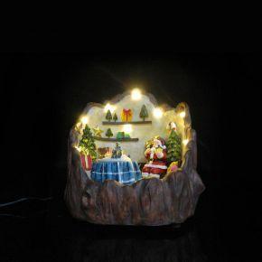 Eurolamp LED Χριστουγεννιάτικο Τραπέζι και Αϊ Βασίλης Μέσα σε Φωτιζόμενο Κορμό Δέντρου IP20
