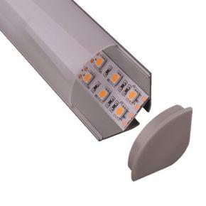Eurolamp Προφίλ Αλουμινίου Διπλό LED Γωνία 90° 2m
