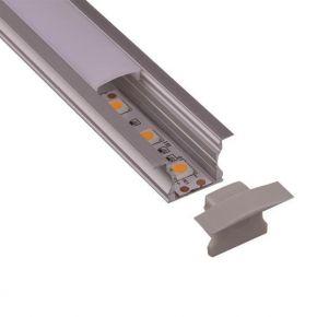 Eurolamp Προφίλ Αλουμινίου LED Χωνευτό 45° 2m