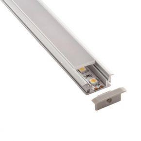 Eurolamp Προφίλ Αλουμινίου Χωνευτό Δαπέδου Στεγανό LED 90° 2m
