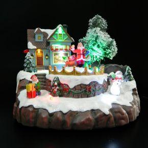 Eurolamp Χριστουγεννιάτικο Χωριό 8 LED με Άγιο Βασίλη και Χιονάνθρωπο