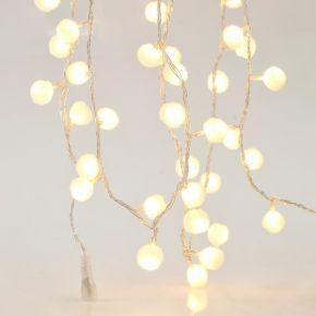 Eurolamp 100 LED Σε Σειρά Λευκές Υφασμάτινες Μπάλες Με Μετασχηματιστή Και Επέκταση IP44