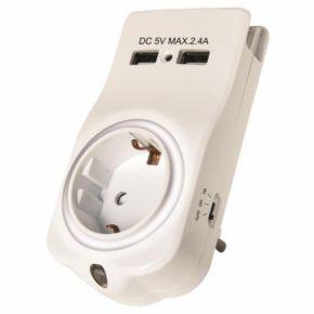 Eurolamp Αντάπτορας Σούκο 2 USB Με Φωτάκι Νυκτός, Βάση Κινητού Και Παιδική Προστασία