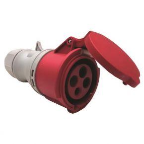Eurolamp Φις Θηλυκό Βιομηχανικού Τύπου 4x32A 380-415V IP44 Κόκκινο-Γκρί