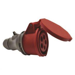 Eurolamp Φις Θηλυκό Βιομηχανικού Τύπου 5x32A 380-415V IP44 Κόκκινο-Γκρί