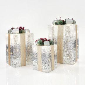 Eurolamp LED Κουτιά Δώρου Φωτιζόμενα Ασημί-Λευκό Νήμα Μπαταρίας Σετ 3τμχ