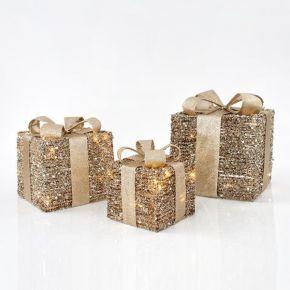 Eurolamp LED Κουτιά Δώρου Φωτιζόμενα Με Χρυσό Νήμα Μπαταρίας Σετ 3τμχ