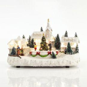Eurolamp LED Χωριό Με Δέντρο Και Παιδάκια, Χιονισμένο, 16 LED, Με Μετασχηματιστή, Μουσική Και Κίνηση, 33X21X20CM