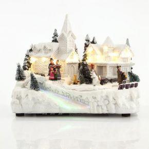 Eurolamp LED Χωριό Χιονισμένο Με Μετασχηματιστή Μουσική Και Κίνηση 25X14,5X20CM
