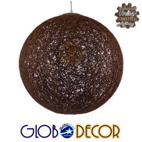 Vintage Κρεμαστό Φωτιστικό Οροφής Μονόφωτο Καφέ Ξύλινο Ψάθινο Rattan Φ40 GloboStar VOLVER 01358