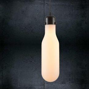 Eurolamp Φωτιστικό Κρεμαστό 28W Ε27 Φ210 Γυάλινο Οπάλ Μπουκάλι Μήλος