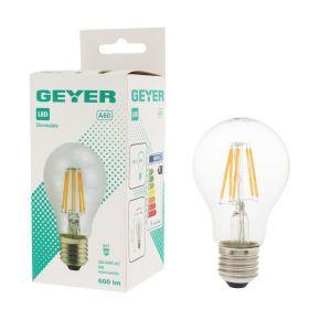 GEYER LED Λάμπα Filament Κλασσική A60 6W E27 Διάφανη Dimmable