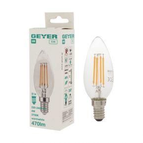 GEYER LED Λάμπα Filament Κερί C35 4W E14 Διάφανη