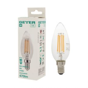 GEYER LED Λάμπα Filament Κερί C35 4W E14 Διάφανη Dimmable