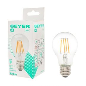 GEYER LED Λάμπα Filament Κλασσική A60 4W E27 Διάφανη