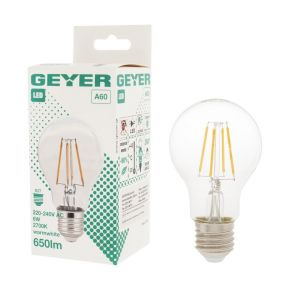 GEYER LED Λάμπα Filament Κλασσική A60 6W E27 Διάφανη