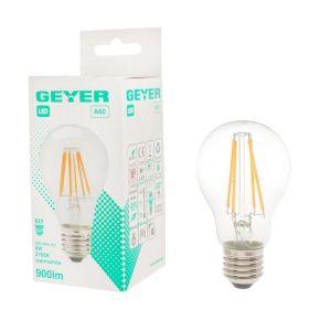 GEYER LED Λάμπα Filament Κλασσική A60 8W E27 Διάφανη