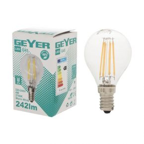 GEYER LED Λάμπα Filament Σφαιρική G45 4W E14 Διάφανη
