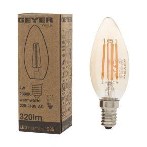 GEYER LED Λάμπα Filament Vintage Κερί C35 4W E27