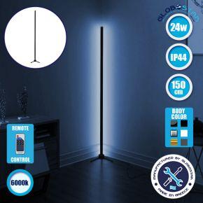 Μοντέρνο Minimal Επιδαπέδιο Μαύρο Φωτιστικό 150cm LED 24 Watt με Ασύρματο Χειριστήριο RF & Dimmer Ψυχρό Λευκό 6000k GloboStar ALIEN Design GLOBO-150-1